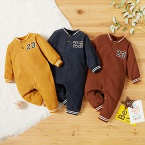 Number Print Solid Baby Long-sleeve Jumpsuit