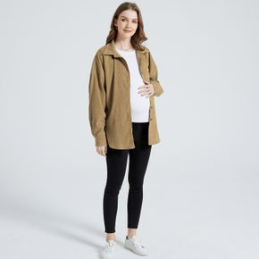 Maternity Patch Pocket Single Breasted Long-sleeve Ginger Yellow Coat