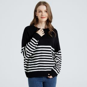 Maternity Round-collar Long-sleeve Striped Sweater