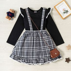 2-piece Kid Girl Ruffled Lace Design Long-sleeve Top and Suspender Skirt Set