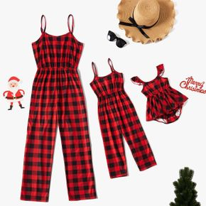 Christmas All Over Red Plaid Sleeveless Cami Jumpsuit for Mom and Me