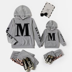 Letter Print Grey Long-sleeve Hoodies and Leopard Splicing Pants Sets for Mom and Me
