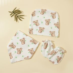 3-pack Baby Cartoon Graphic Anti-scratch Glove and Hat and Bib Set