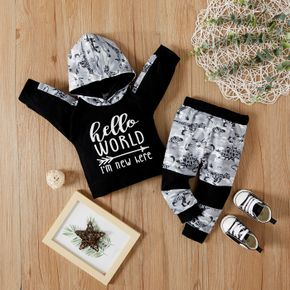 2pcs Baby Dinosaur and Letter Print Splicing Long-sleeve Hoodie and Trousers Set