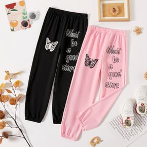 Kid Girl Letter Butterfly Print Elasticized Casual Pants