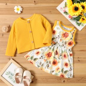 2pcs Baby Girl Sunflower Floral Print Sleeveless Dress and Solid Ribbed Long-sleeve Cardigan Set