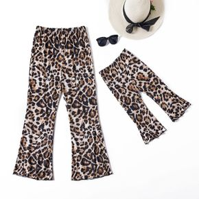 All Over Leopard Print Ankle-length Bell Bottom Pants for Mom and Me