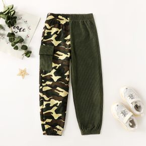 Kid Boy Camouflage Colorblock Casual Cargo Pants