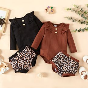 2pcs Baby Girl Ribbed Long-sleeve Ruffle Romper and All Over Leopard Shorts Set