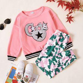 2-piece Kid Girl Letter Star Embroidered Striped Fuzzy Pullover Sweatshirt and Camouflage Print Pants Set