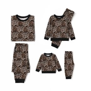 All Over Leopard Long-sleeve Sweatshirt with Pants Sets for Mom and Me