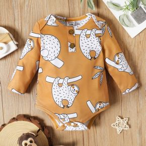 Baby Boy Apricot/Blue All Over Animal Print Long-sleeve Romper