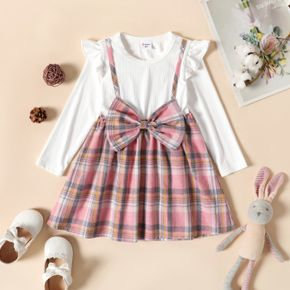 Toddler Girl Faux-two Ruffled Bowknot Design Plaid Long-sleeve Dress