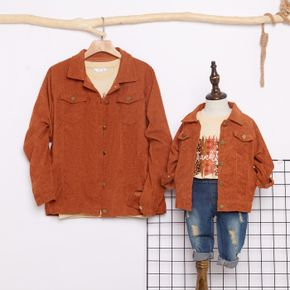 Brown Corduroy Lapel Button Down Long-sleeve Shirts Outwear for Mom and Me