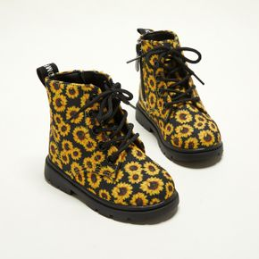 Toddler / Kid Sunflowers Print Perforated Lace-up Side Zipper Boots