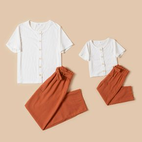 White Short-sleeve Ribbed Tops and Elasticized Waist Pants Sets for Mom and Me