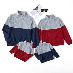 Family Matching Color Block Lapel Long-sleeve Cable Knit Sweatshirts