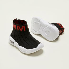 Toddler / Kid Letter Graphic Detail Knit Panel Sports Shoes