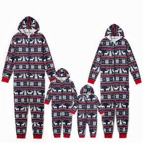 Christmas All Over Print Blue Family Matching Long-sleeve Hooded Onesies Pajamas Sets (Flame Resistant)