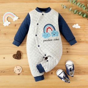Cartoon Rainbow Cloud and Letter Print Thickened Lined Baby Long-sleeve Jumpsuit