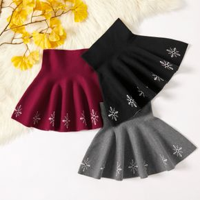 Kid Girl Snowflake Embroidered A-line Knit Pleated Skirt