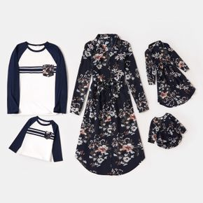 Family Matching All Over Lapel Long-sleeve Shirt Dresses and Raglan-sleeve T-shirts Sets
