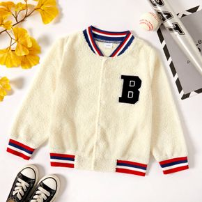 Kid Boy Letter Embroidered Striped Fuzzy Teddy Bomber Jacket