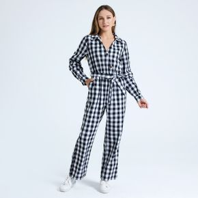 Black and White Plaid Print Half Button Belted Jumpsuit