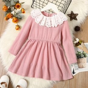 Toddler Girl  Schiffy Doll Collar Cable Knit Textured Long-sleeve Dress