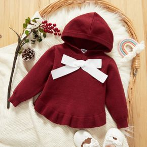 Baby Girl Solid Knit Long Sleeve Hooded Bowknot Sweater