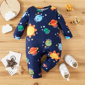 Baby Boy All Over Solar System Planets and Letter Print Dark Blue Long-sleeve Jumpsuit