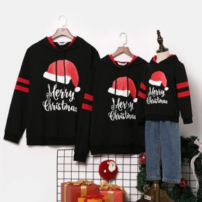 Christmas Hat and Letter Print Black Family Matching Long-sleeve Hoodies