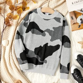 Kid Boy Casual Camouflage Print Knit Sweater