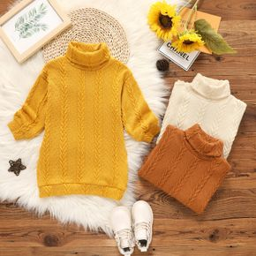 Toddler Girl Turtleneck Cable Knit Long-sleeve Sweater Dress