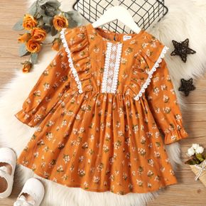Toddler Girl 100% Cotton Ruffled Lace Design Floral Print Long-sleeve Dress