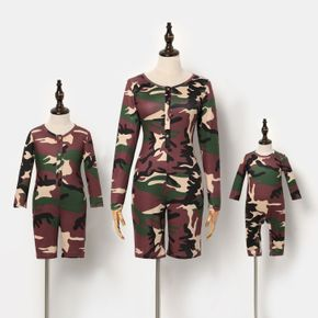 Camouflage Round Neck Long-sleeve Snug-fit Romper Shorts for Mom and Me