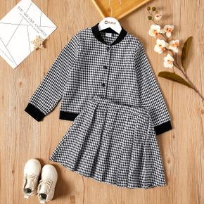 2-piece Kid Girl Houndstooth Button Design Jacket and Pleated Skirt Set