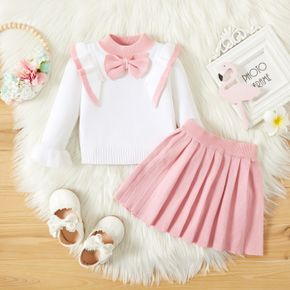 2pcs Baby Pink Bowknot Ruffle Long-sleeve Knitted Sweater and Pleated Skirt Set