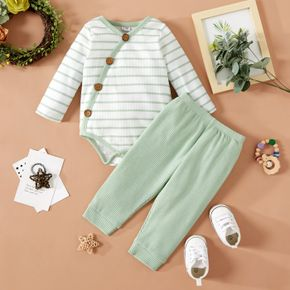 2pcs Baby Boy/Girl Striped Long-sleeve Waffle Romper and Solid Trousers Set
