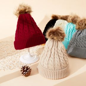Baby / Toddler Fashionable Solid Knitted Pompon Hat