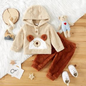 2pcs Baby Boy Cartoon Bear Pattern Thickened Fuzzy Fleece Long-sleeve Hoodie and Trousers Set