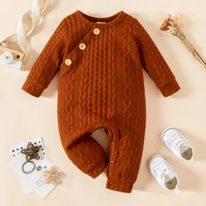 Baby Boy/Girl Brown Cable Knit Long-sleeve Jumpsuit