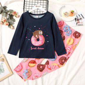 2-piece Kid Girl Letter Bear Donuts Print Long-sleeve Tee and Pants Set