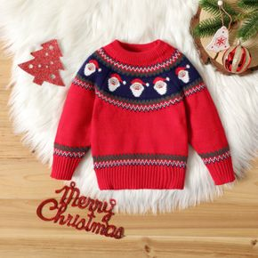 Christmas Santa Claus Pattern Red Baby Long-sleeve Knitted Sweater
