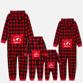 Christmas Red Plaid Family Matching Thickened Polar Fleece Long-sleeve Hooded Onesies Pajamas Sets (Flame Resistant)