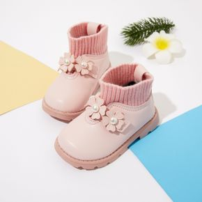 Toddler Faux Pearl Floral Decor Knit Splicing Boots