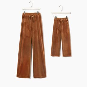 Solid Brown Straight Leg Velvet Casual Pants for Mom and Me