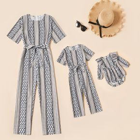 All Over Polka Dots Striped Round Neck Belted Jumpsuits for Mom and Me