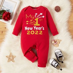 Christmas Baby Boy/Girl Letter Print Red Long-sleeve Jumpsuit