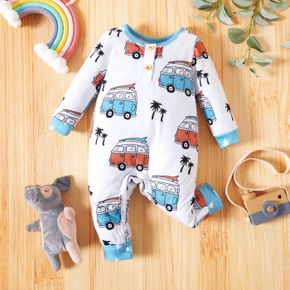 Baby Boy All Over Cartoon Bus Print White Long-sleeve Jumpsuit